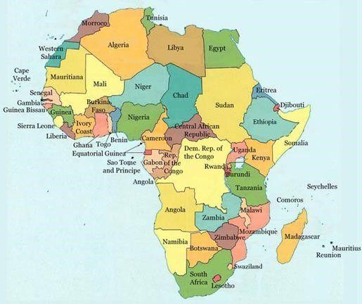 Lernubungen Fur Kinder Zu Drucken Weltkarten 27 Afrika Karte