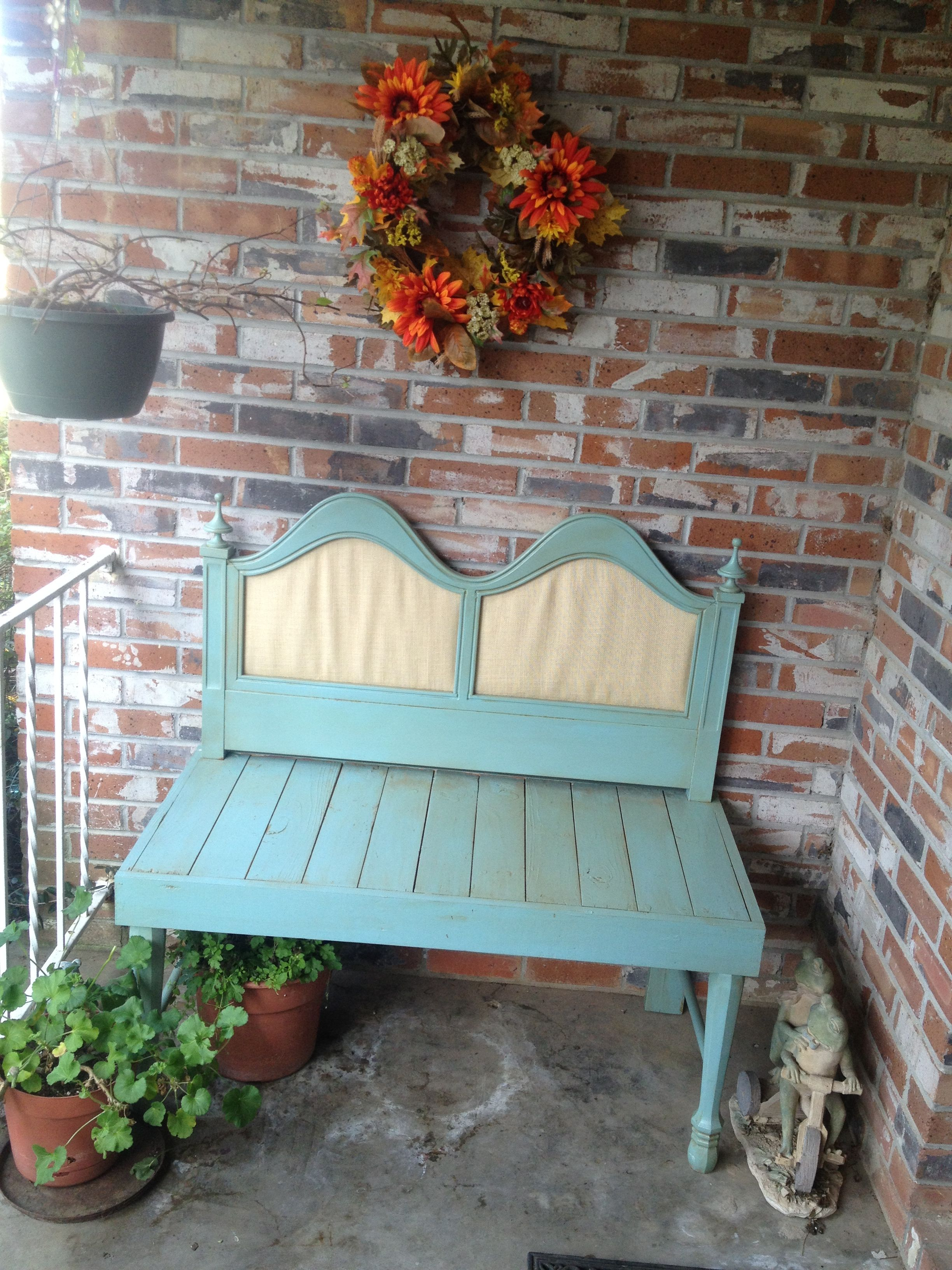 Headboard made into a bench! Used Websters and a stain!