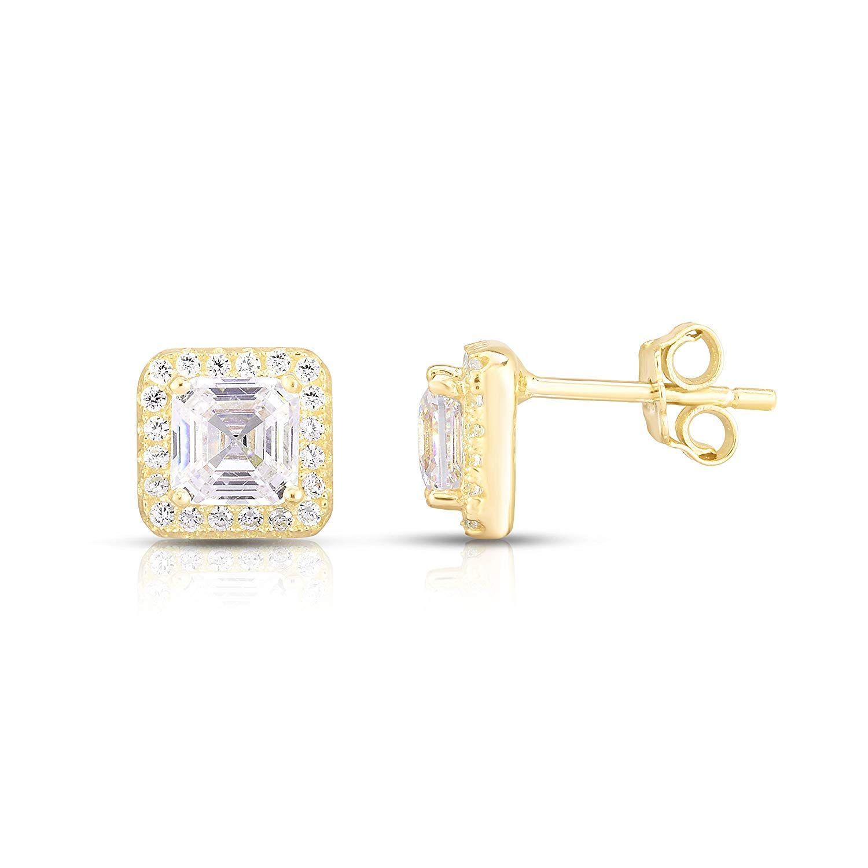 Sterling Silver Asscher-Cut Cubic Zirconia Halo Stud Earrings