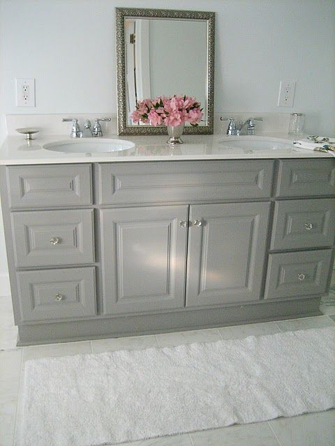 Diy Custom Painted Grey Builder Standard Bathroom Vanity With Images Grey Bathroom Vanity Home Design Decor Girls Bathroom