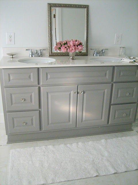 Diy Custom Painted Grey Builder Standard Bathroom Vanity Grey