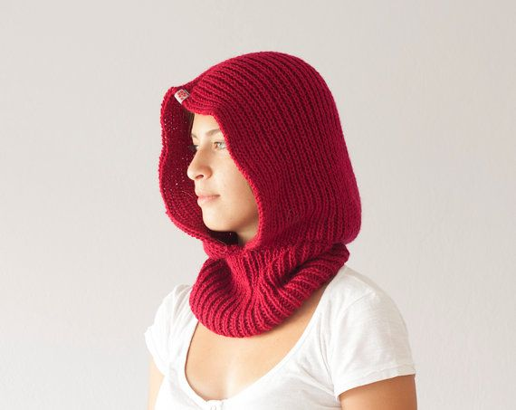 Sales Knit hooded cowl in red neckwarmer cowl scarf collar neck ...