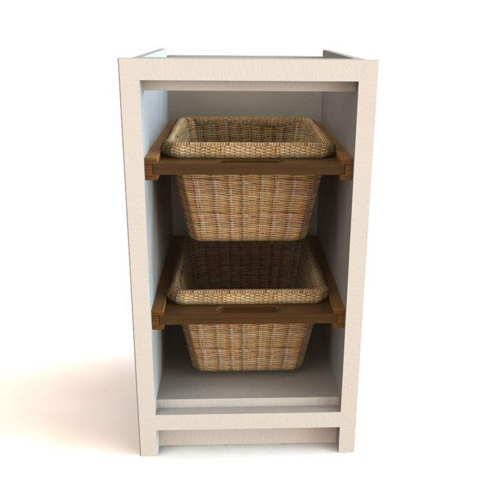 A Simple Cabinet With Two Beautifully Weaved Wicker Baskets. The Slide Out  Wicker Baskets Are Perfect Storage For