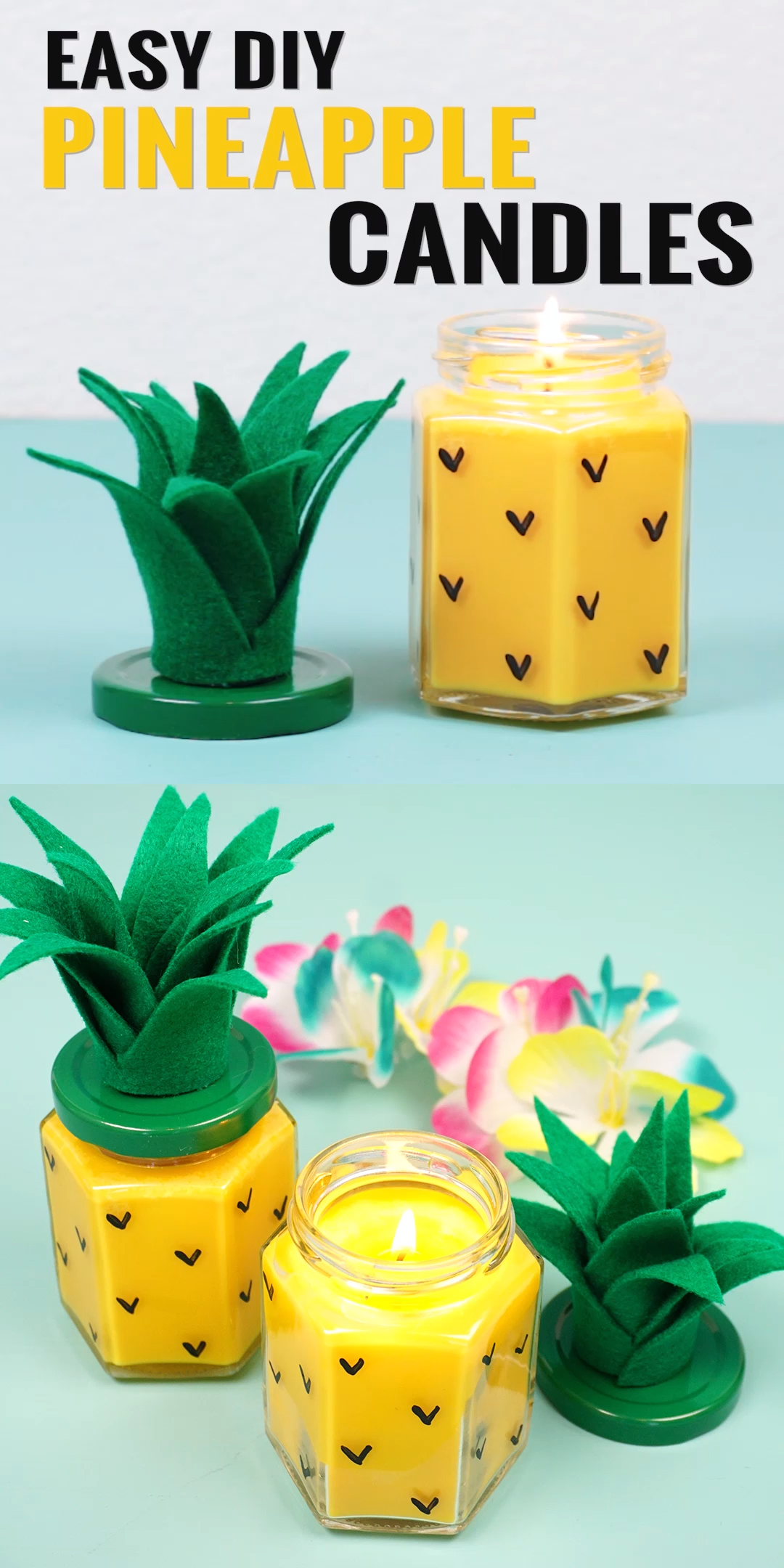 Easy DIY Pineapple Candles #candles