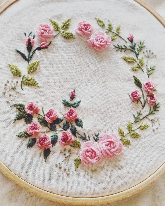 Bullion Rose Wreath Embroidery Embroidery Pinterest Embroidery