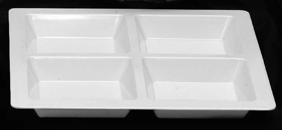 """4 Section Compartment Tray - Square - 13 ½"""" x 13 ½"""" x 1 ⅜ """" (Passion White)"""