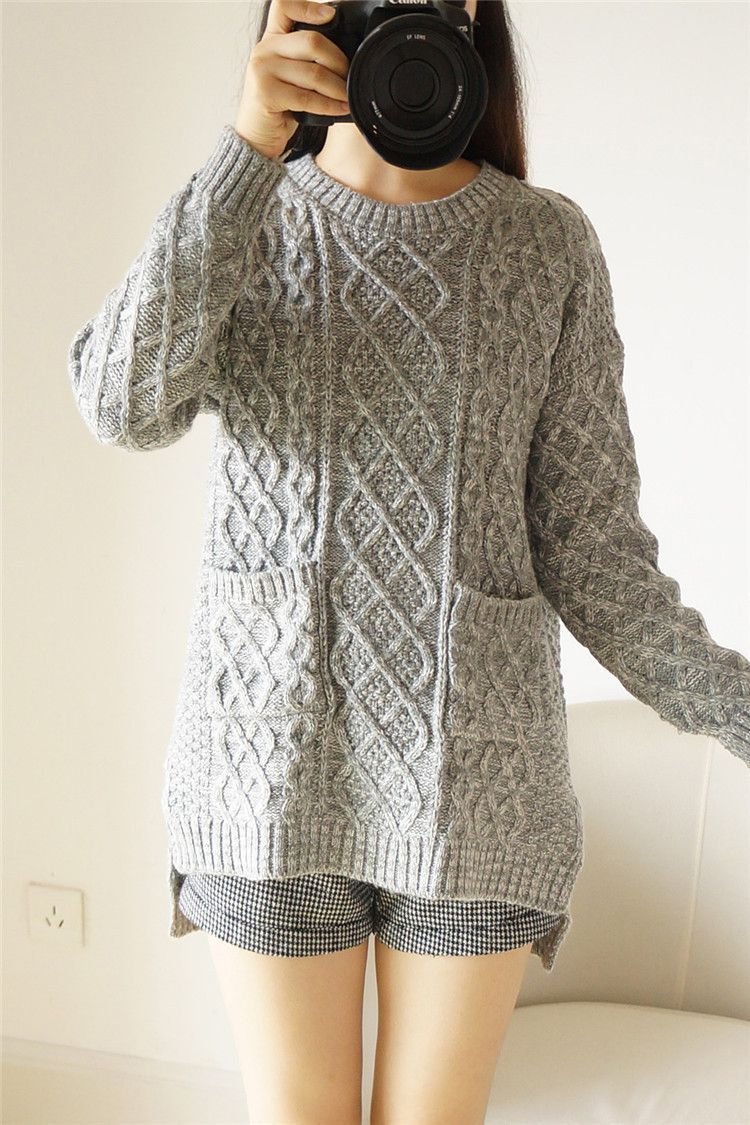 Korean Style Loose Cable Coarse Yam Knit Sweater | Korean style ...