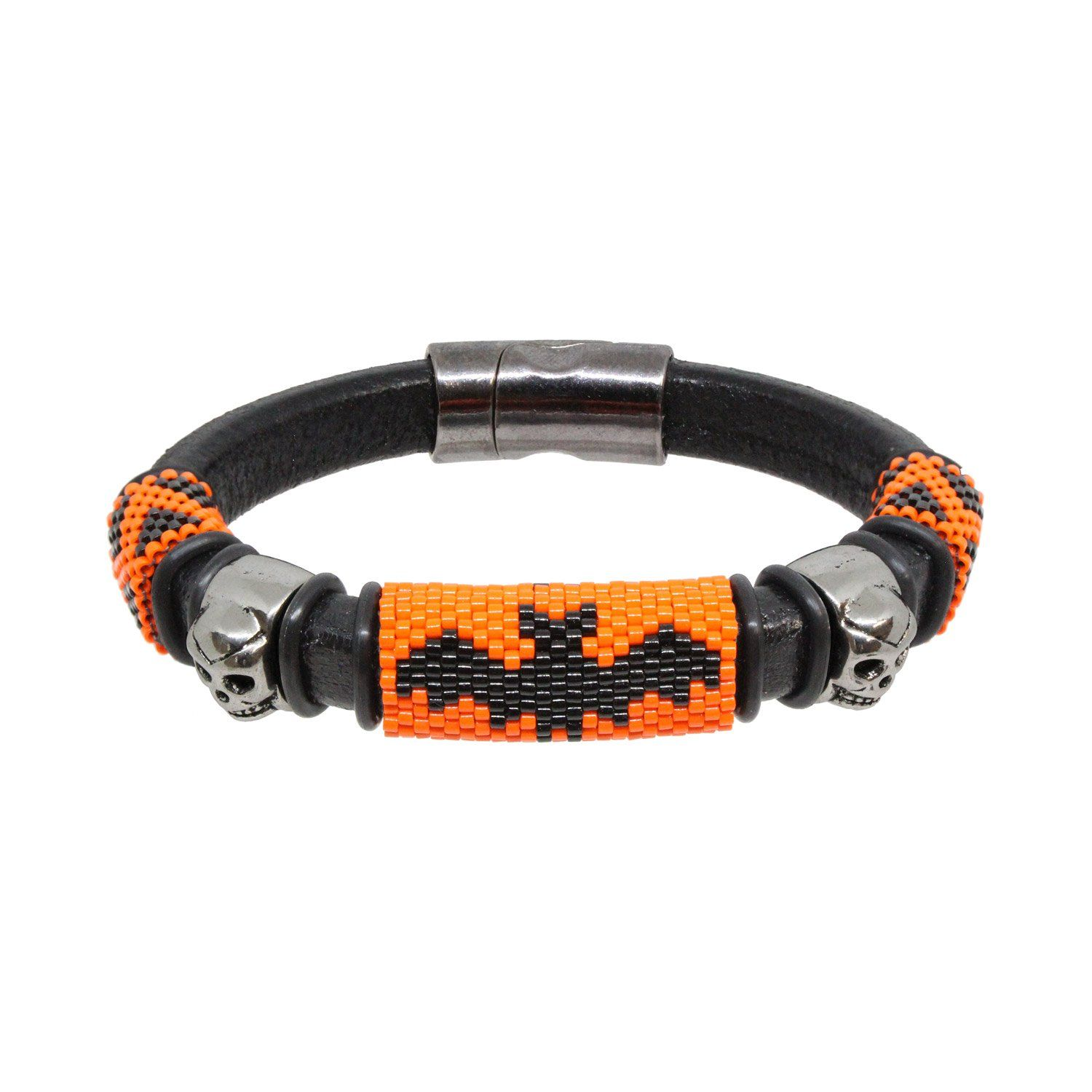 """🎃 Scary Halloween Leather Bracelet 🦇 has a set of three decorative handmade black and orange halloween-themed peyote stitch sliders. The main slider has a large bat image, while the two outer sliders with the zig zag pattern perhaps resemble jagged teeth. To complete ths """"scary"""" look, there are two silver skulls - one on each side of the bat centerpiece. Each slider is collared with black rubber rings to keep the sliders in place and add a bit of decoration. The leather cord is genuine Regaliz"""