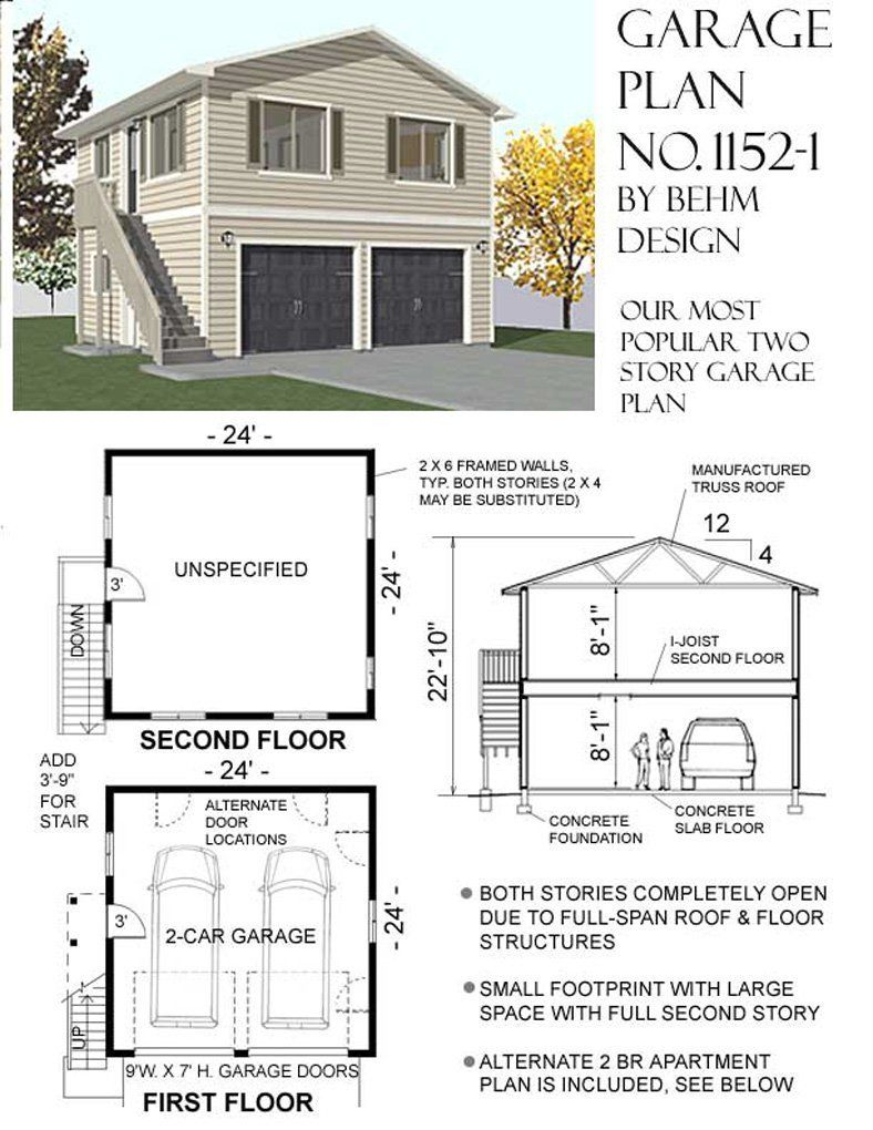 Garage plans two car two story garage with apartment outside stairs plan 1152 1 house Story floor plans with garage collection