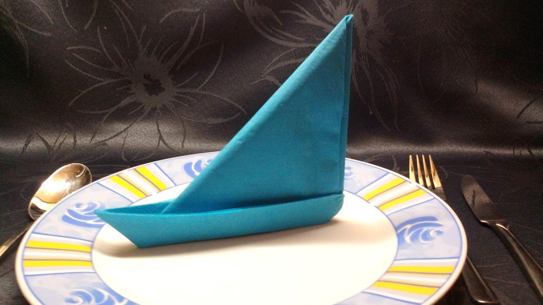 Segelschiff -Servietten Deko falten ( photographed napkin folding instructions for a sailing ship #serviettenfalten