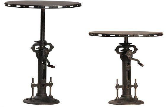 Custom Made Steampunk Round Bistro Table, Telescoping Pedestal