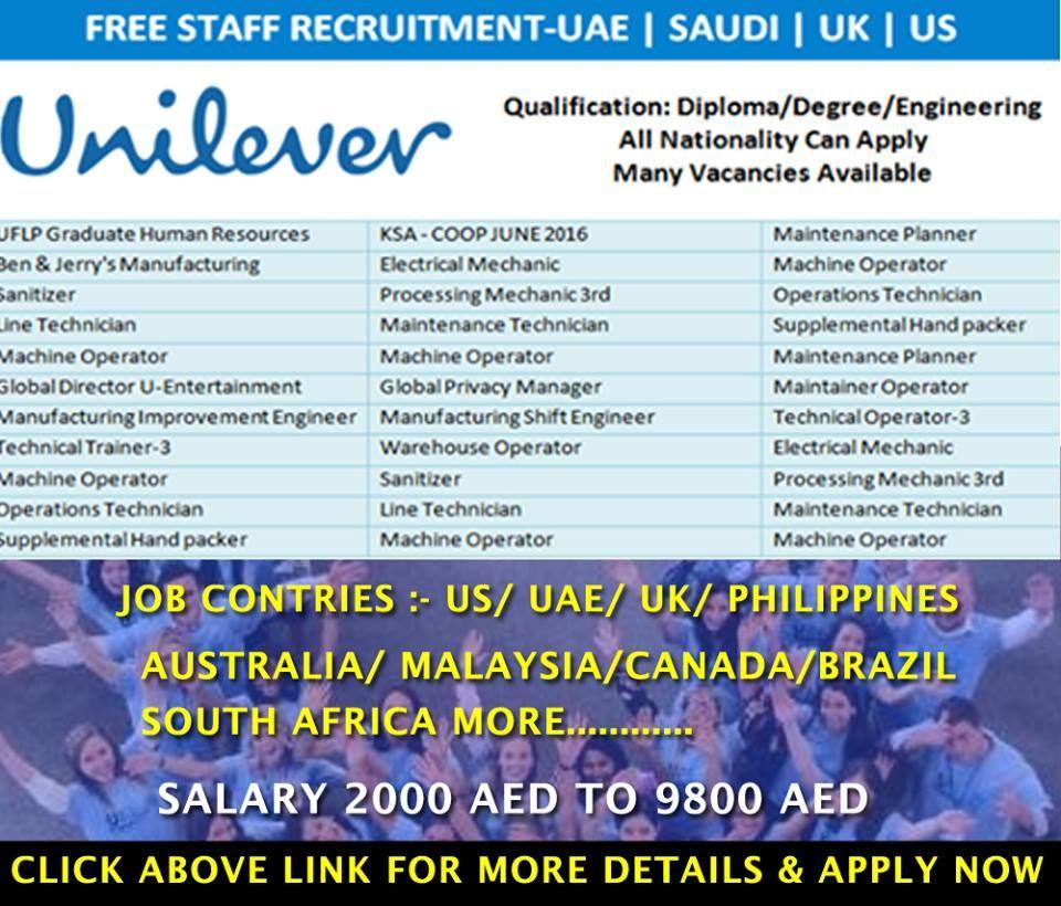 Latest Job Vacancies At Unilever Good Remuneration Attractive Salary