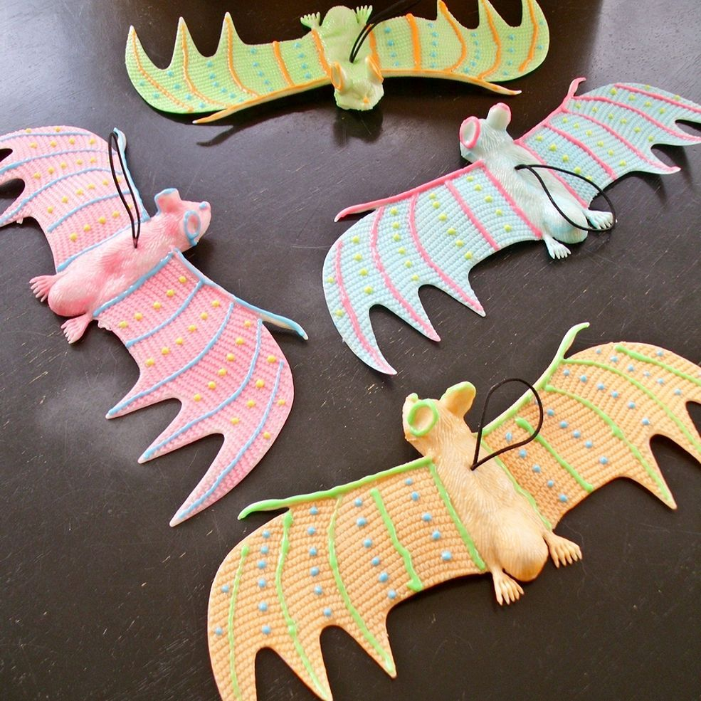 Easy Glow-in-the-Dark Bat Mobile for Halloween Bats, Dollar stores - glow in the dark halloween decorations