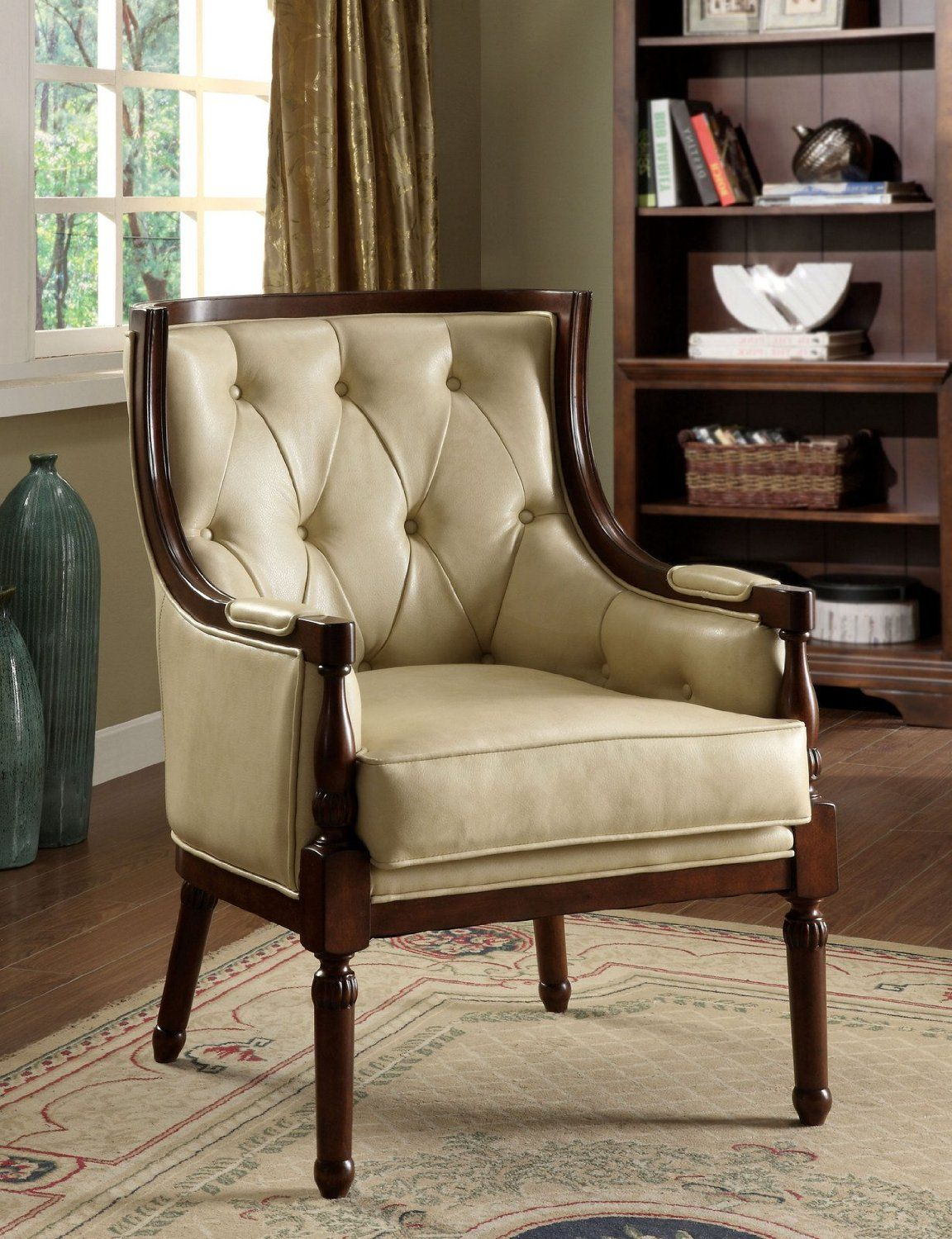 Leather accent chairs with arms - Santi English Style Tuft Faux Leather Accent Chair