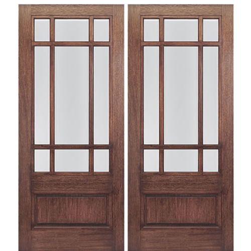 MAI Doors Front Doors On Sale Mahogany Square Top With A Panel Bottom Exterior  Double Door