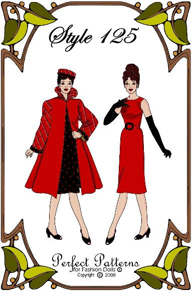 Silkstone Barbie Doll Clothes Pattern - Dress, Coat, Hat, Gloves ...