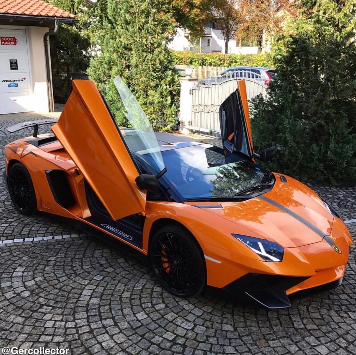 Charming Lamborghini Aventador Super Veloce Roadster Painted In Arancio  Atlas W/ A Matte Black Center