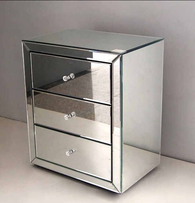 Mirrored Bedside Table | Apartment Bedroom | Side tables bedroom ...