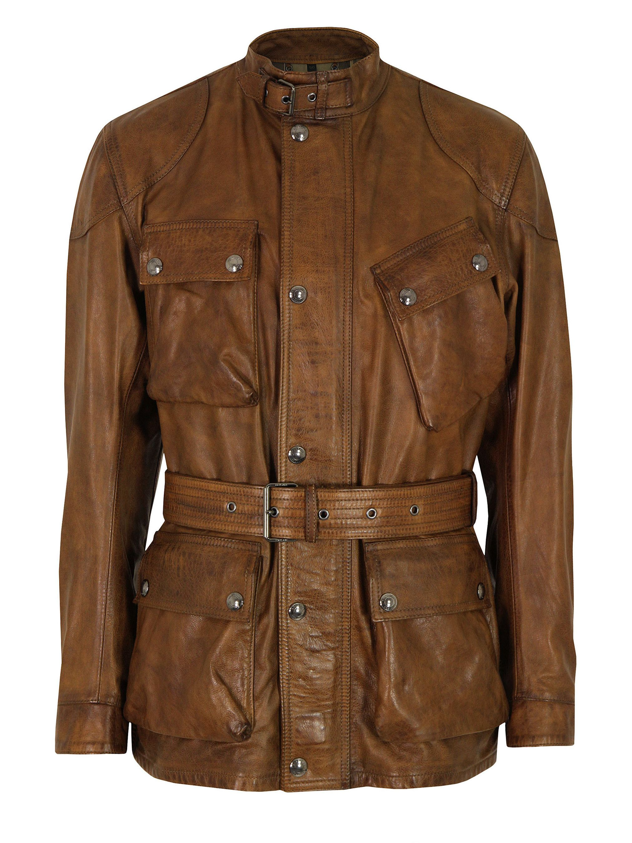 Panther Cognac Leather Jacket Belstaff Giacca In Pelle Panther
