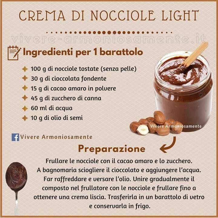 Ricetta Nutella Bimby Senza Zucchero.Light Nutella Home Made Dolci Senza Latticini Ricette Crema