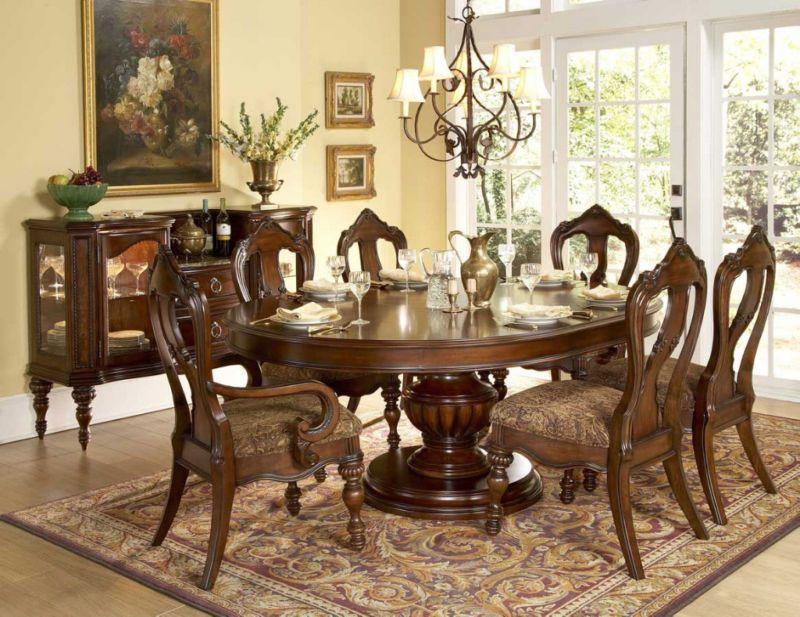 Exquisite oval round dining table \ 6 chairs dining room furniture