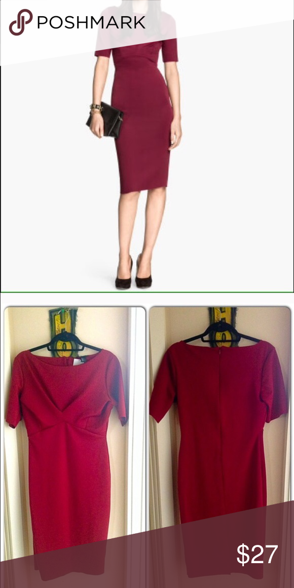 Red H&M form fitting body con midi dress Never worn. Gorgeous color H&M Dresses Midi