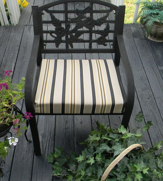Indoor / Outdoor Foam Universal Chair Seat Cushion With Ties   Black Gold  Tan Stripe