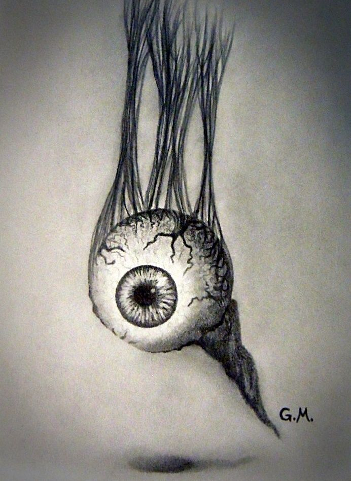 My Drawing Of A Dangling Eyeball Pencil Freehand From Imagination