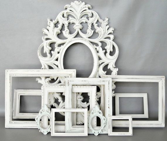 Frame Collection Gallery Wall White Shabby Chic Cottage Vintage ...