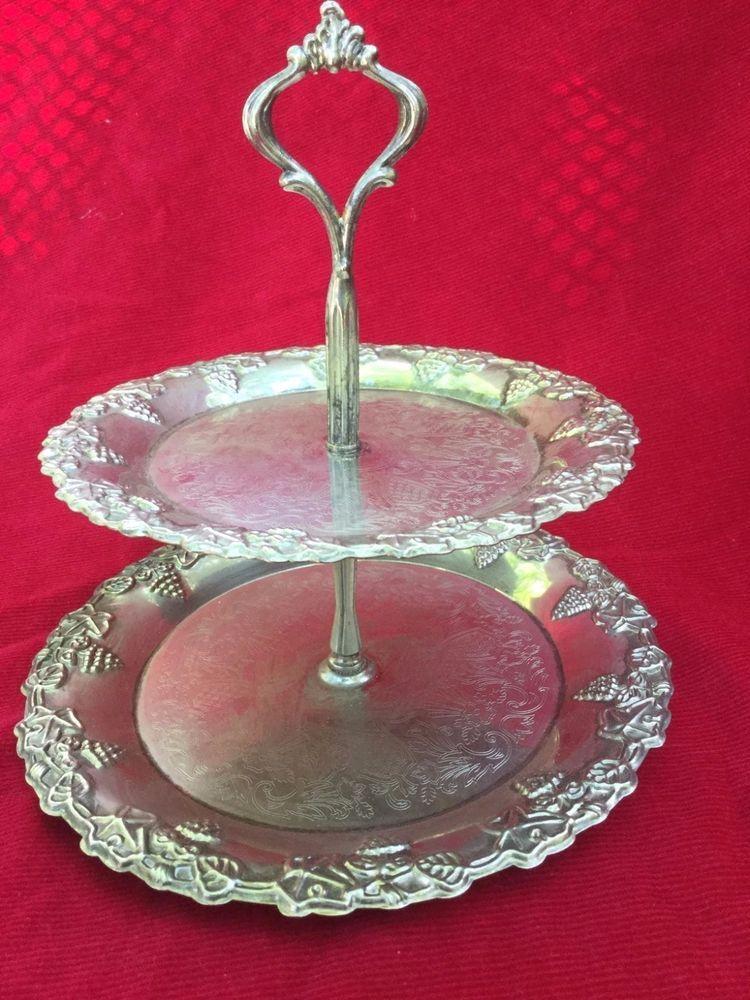 Silver Plate Cake Stand CREA Design Milano 2 Tier Grape