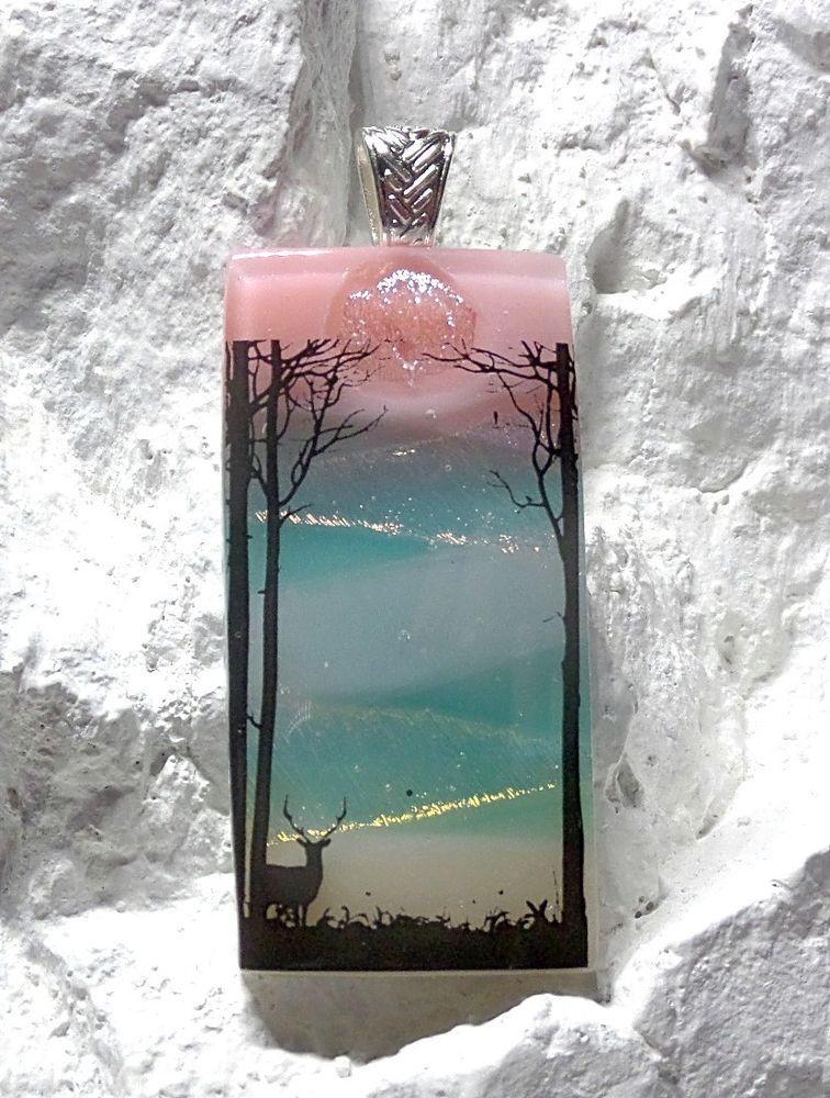 Dichroic fused glass wearable art lone deer usa artisan lolas glass dichroic fused glass wearable art lone deer crafted by lolas glass pendants aloadofball Gallery