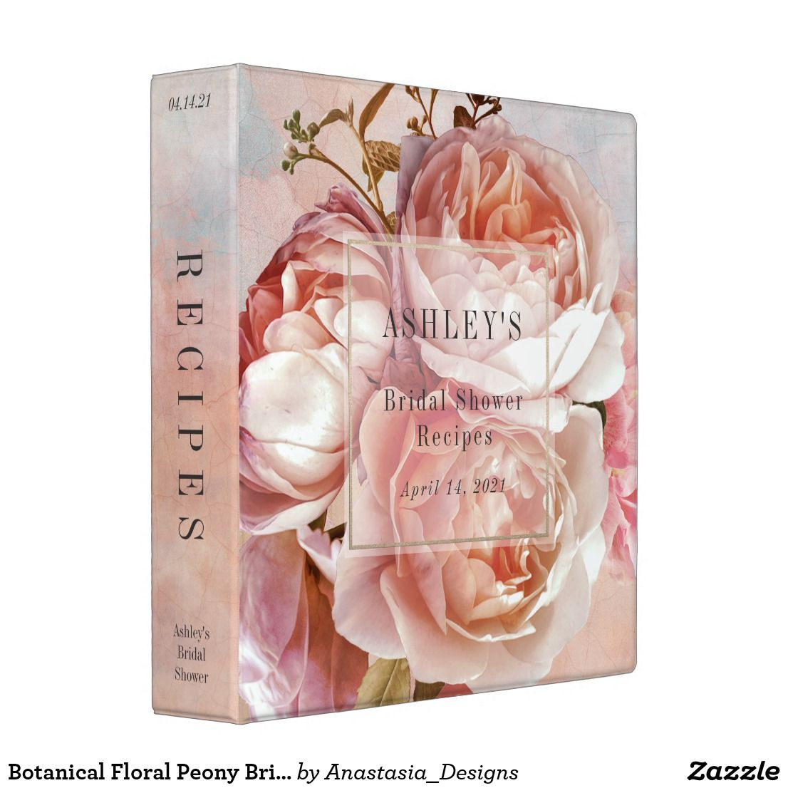 Botanical Floral Peony Bridal Shower Recipe Binder