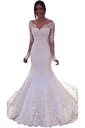 Diandiai Women's Off Shoulder Long Sleeve Mermaid Wedding Dress V Neck Plus  Size Lace Bride Dress