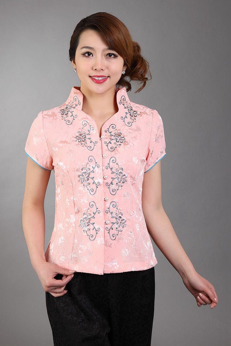 d9d670e06 Summer New Pink Women Short Sleeve Shirt Chinese Vintage Handmade  Embroidery Blouse Silk Satin Tops S M L