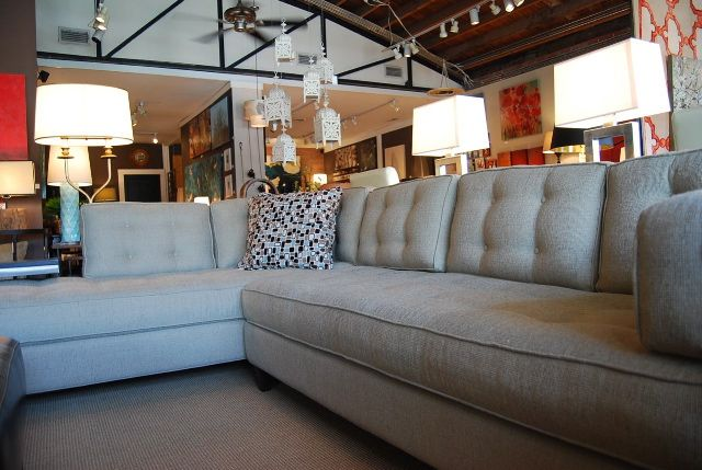 light grey button tufted sectional sofa - laura casey ...