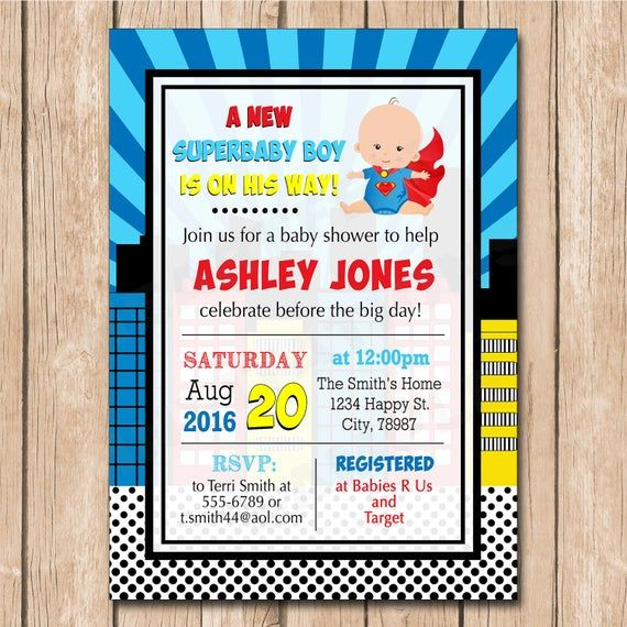 Superhero Baby Shower Invitation | Superman, Spiderman, Flash, African American options – 1.00 each printed