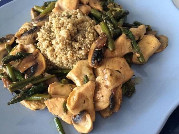 Salteado de pollo con verduras y quinoa receta recetas pinterest pollo pollo salteado y - Cocinar quinoa con verduras ...