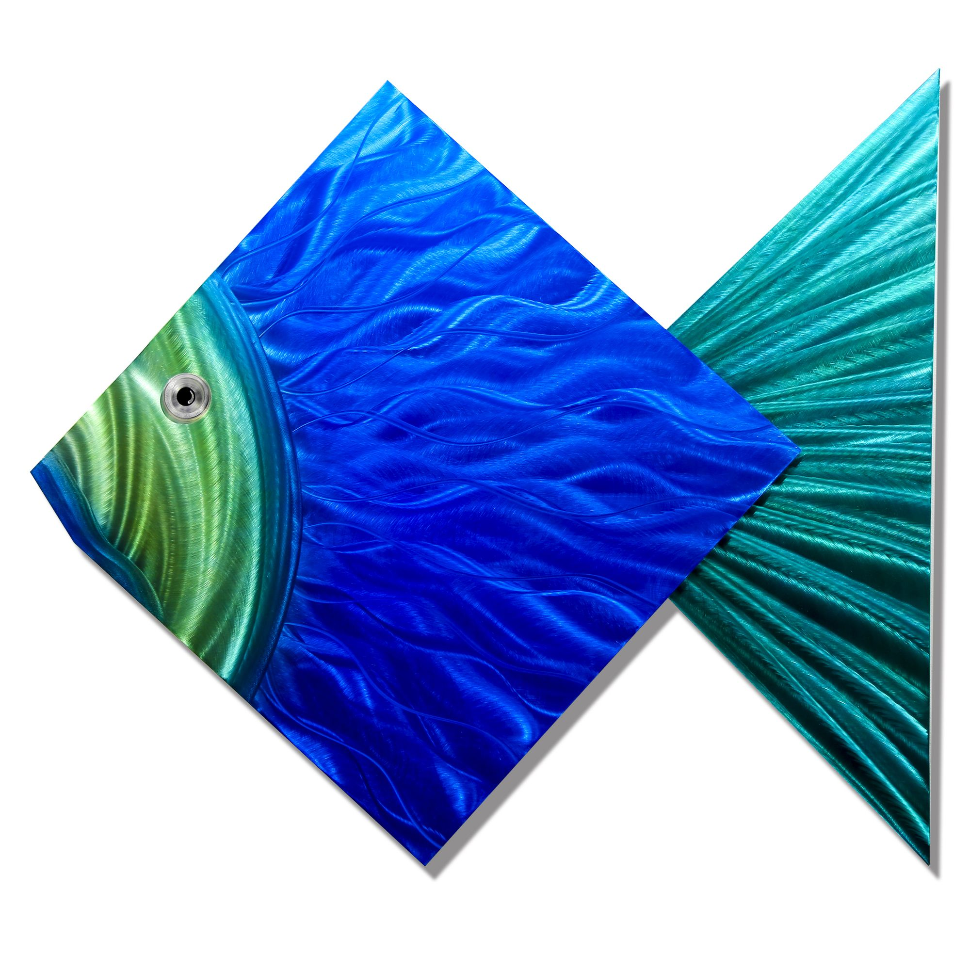 Blue Metal Wall Art Pleasing Big Blue Fish  Handmade Tropical Blue And Green Metal Wall Art Design Decoration