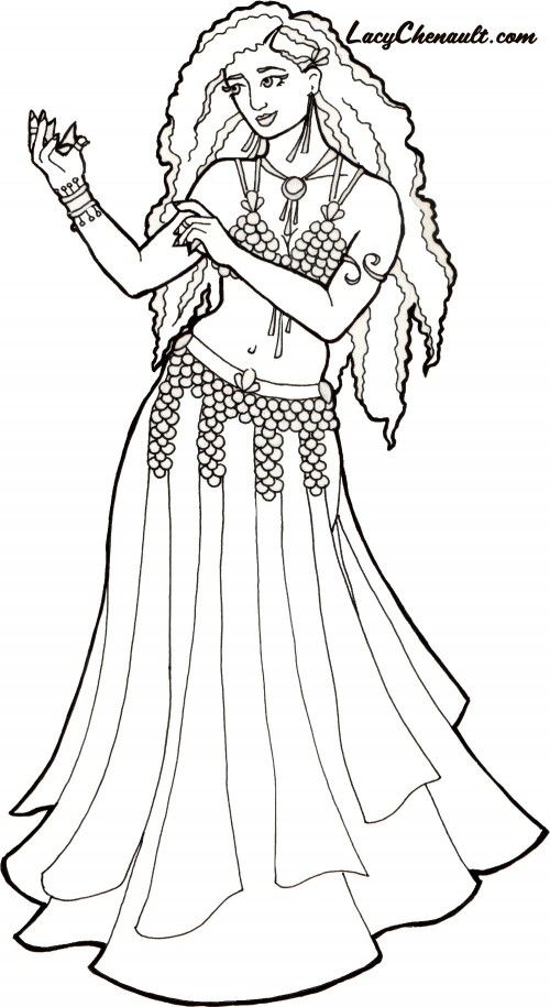 belly dancer coloring pages free