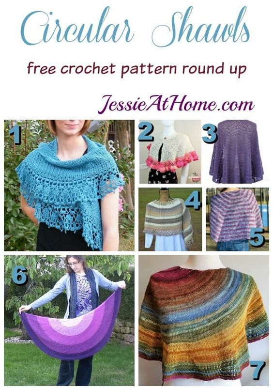 Circular Shawls free crochet pattern round up from Jessie At Home ...