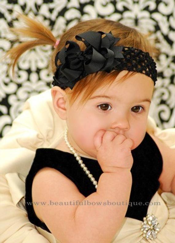 63903e344b0a Small Black Boutique Hair Bow or Baby Headband
