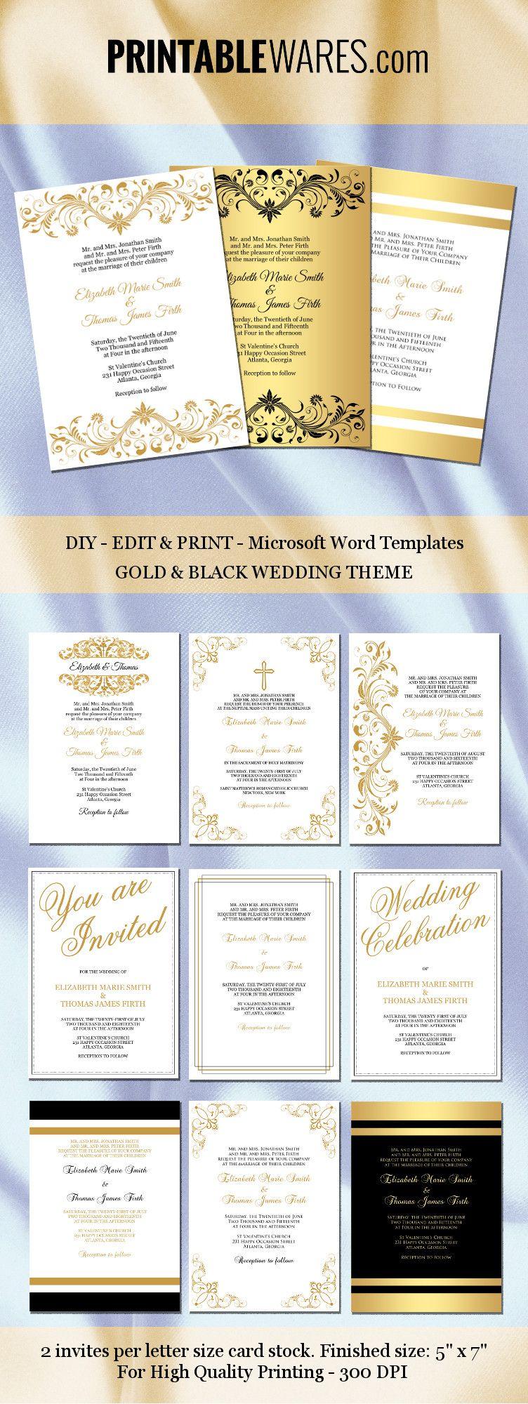 Gold and black wedding invitation templates for Microsoft Word Printable & editable Boda