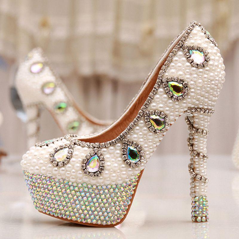 b0bc1379b8 Ab cristal pérola sapatos de noiva sapatos de casamento salto 14 cm de salto …