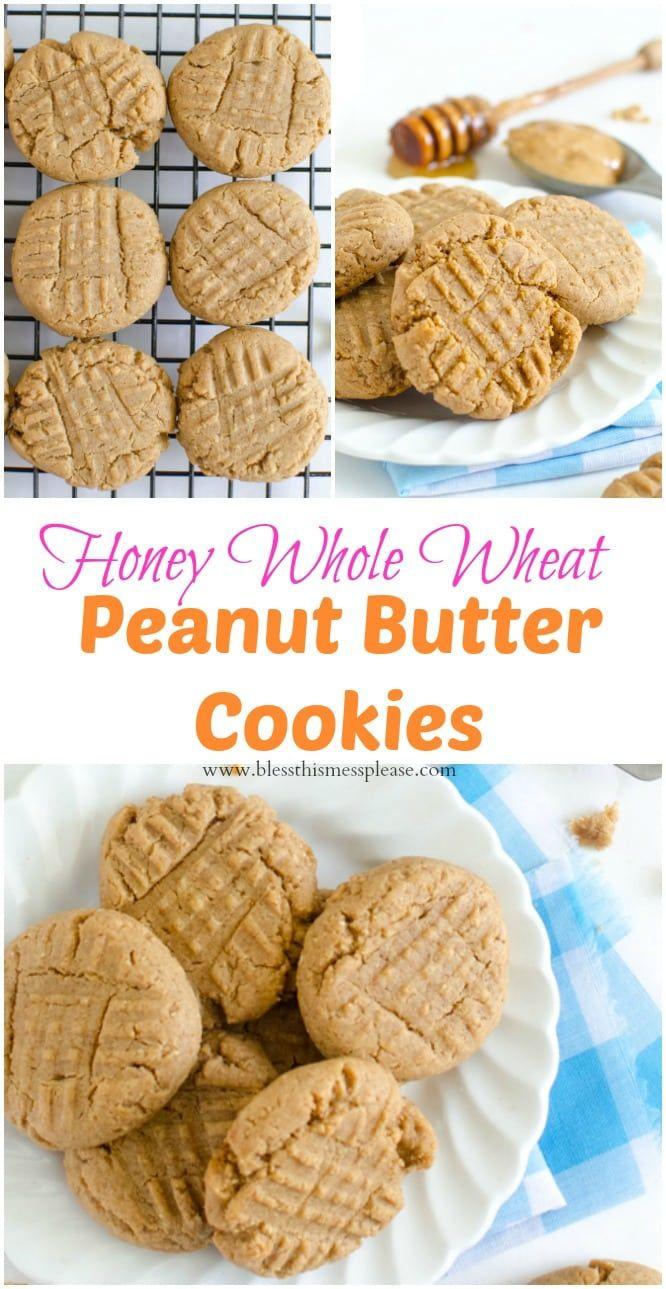 Honey Sweetened Peanut Butter Cookies (whole wheat flour