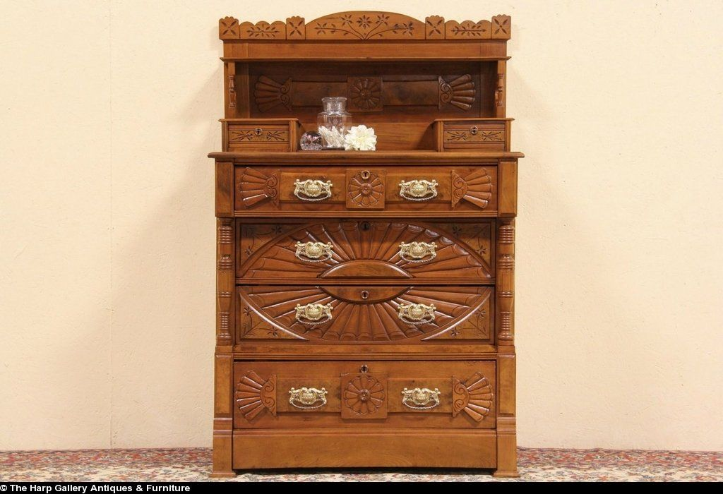 antique dressors with handkerchef drawers images | ... Antique 1875 Chest or Dresser - Harp Gallery Antique Furniture