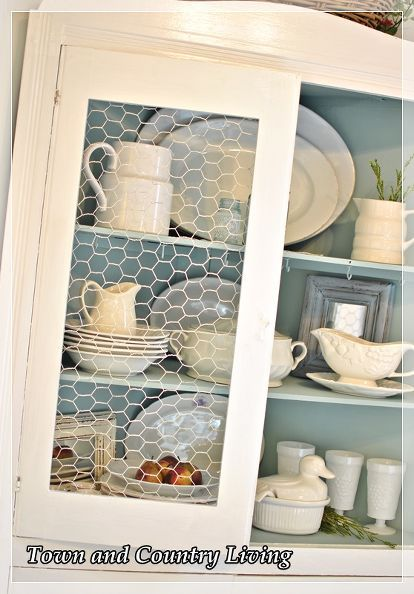 Replacing Glass In A Cabinet With Chicken Wire Decor Home Decor