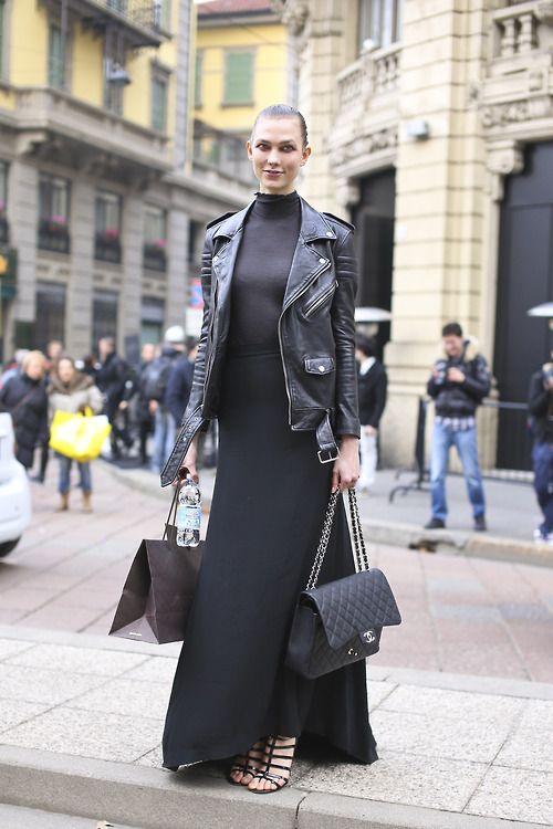 Karlie Kloss (IMG, NY) exiting Gucci show.