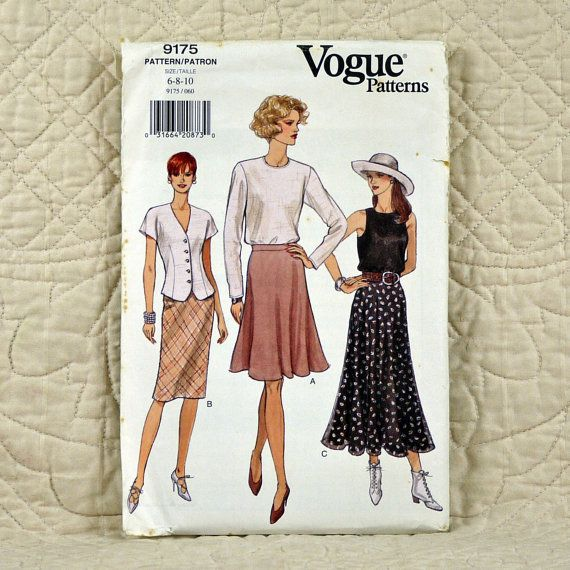 3702af227bd Skirt Vogue 9175 Pattern for Women Lined by DartingDogPatterns ...
