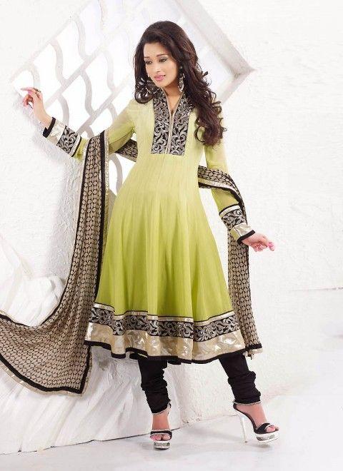 901b0d1db1f4f Lemon Green Viscose Plus Size Salwar Kameez With Matching Dupatta ...