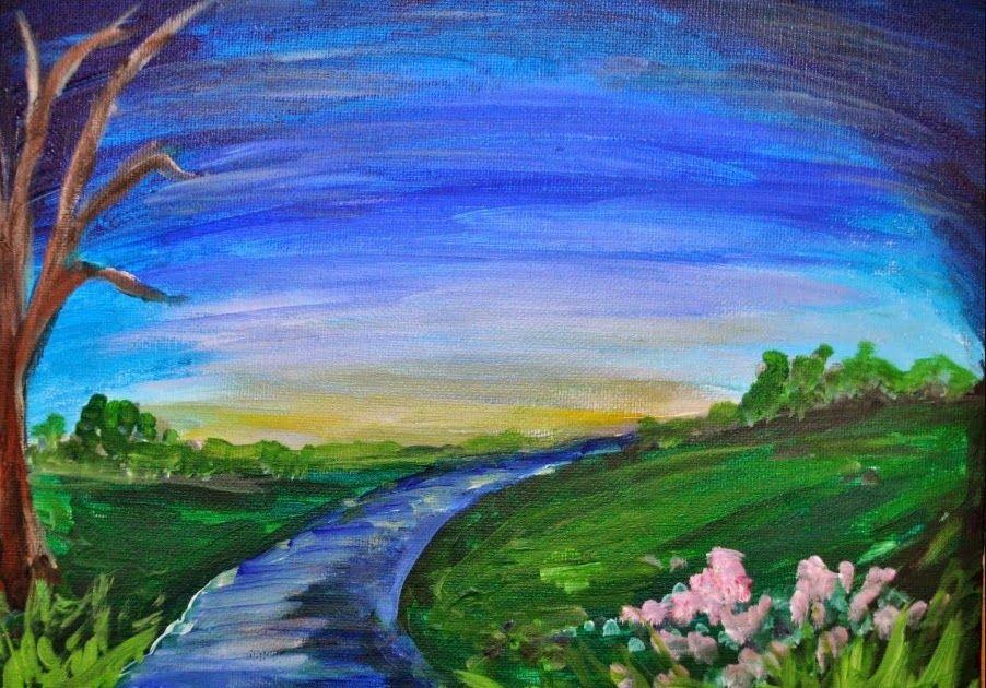 lukisan pemandangan alam yang mudah Lukisan, Ilustrasi alam